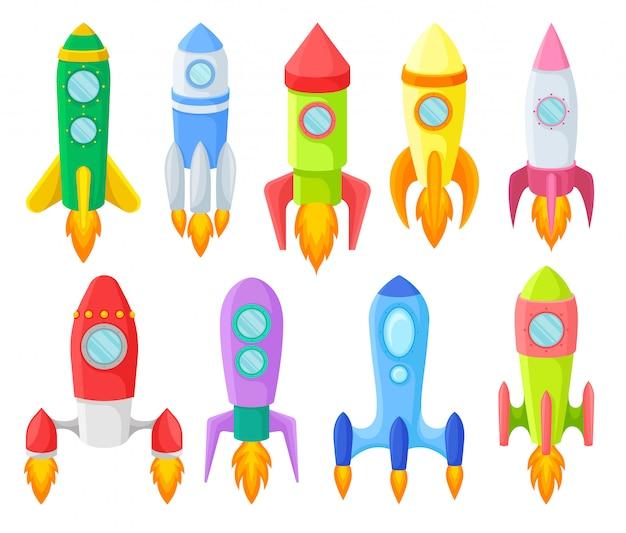 Icon-satz von mehrfarbigen kinderraketen. illustration. Premium Vektoren