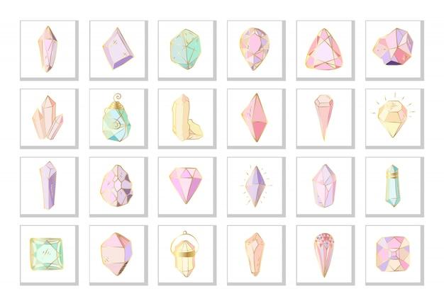 Icon set - bunte kristalle oder edelsteine auf weiß, sammlung von edelsteinen, diamanten Premium Vektoren