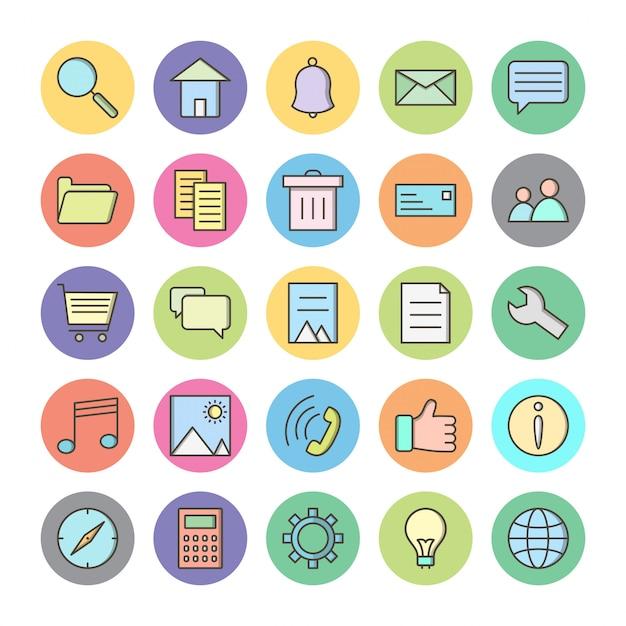 Icon-set der grundlegenden benutzeroberfläche für den persönlichen und kommerziellen gebrauch Premium Vektoren