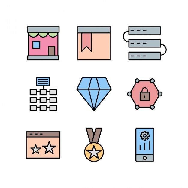 Icon-set der suchmaschinenoptimierung Premium Vektoren