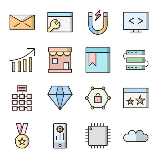Icon set search engine optimization für den persönlichen und kommerziellen gebrauch Premium Vektoren