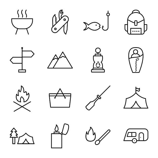 Icon-set von camping Premium Vektoren