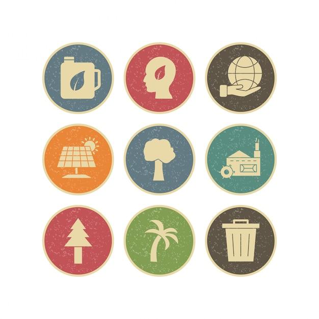 Icon set von eco für den persönlichen und kommerziellen gebrauch Premium Vektoren