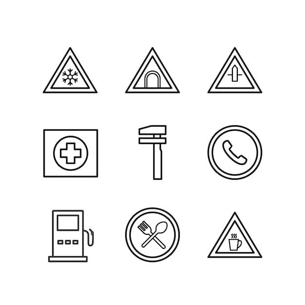 Icon set von verkehrszeichen für den persönlichen und kommerziellen gebrauch Premium Vektoren
