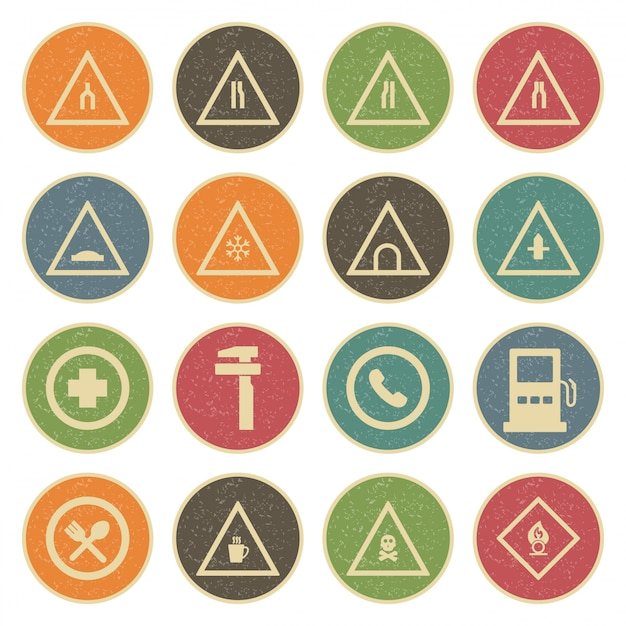 Icon set von verkehrszeichen Premium Vektoren