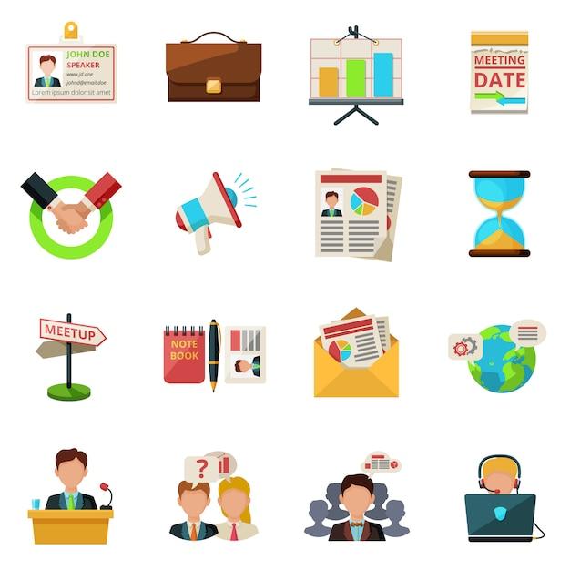 Icons flach treffen Kostenlosen Vektoren
