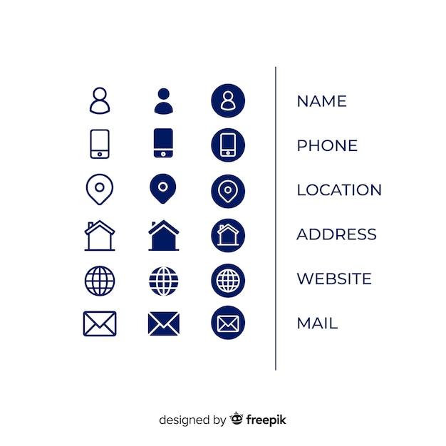 Icons sammlung für visitenkarte Kostenlosen Vektoren
