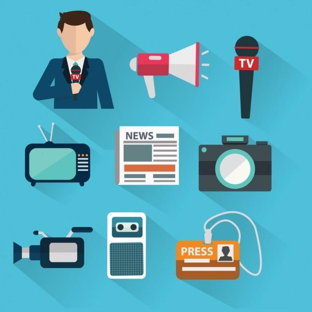 Icons über den journalismus Kostenlosen Vektoren