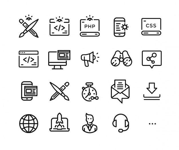 Icons zum thema it-technologie. Premium Vektoren