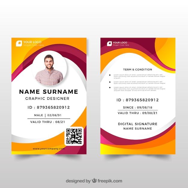 ID-Kartenvorlage mit flachem Design   Download der kostenlosen Vektor