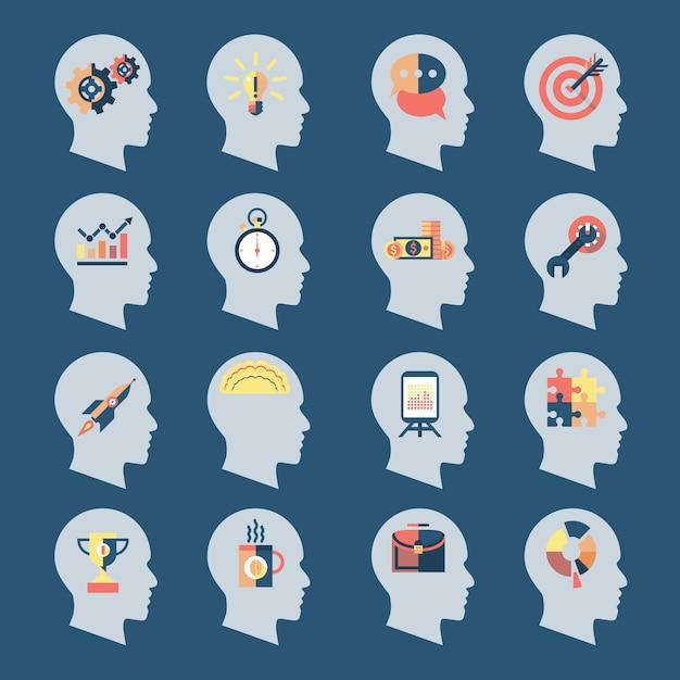 Idea head icons Premium Vektoren