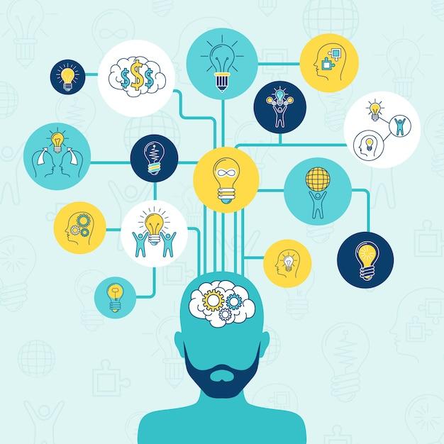 Idea infographic-zusammensetzungssatz Kostenlosen Vektoren