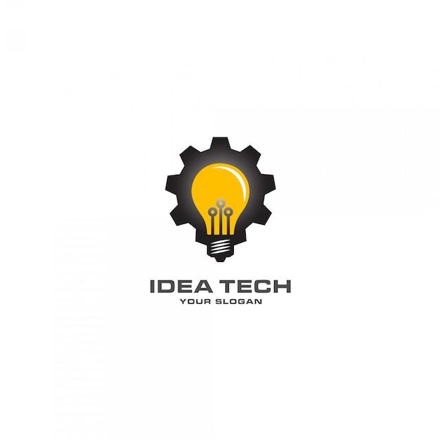 Idea tech mit mechanischem lampenlogo Premium Vektoren
