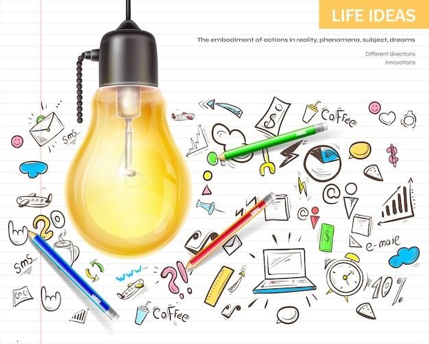 Ideen brainstorming visualisieren Kostenlosen Vektoren