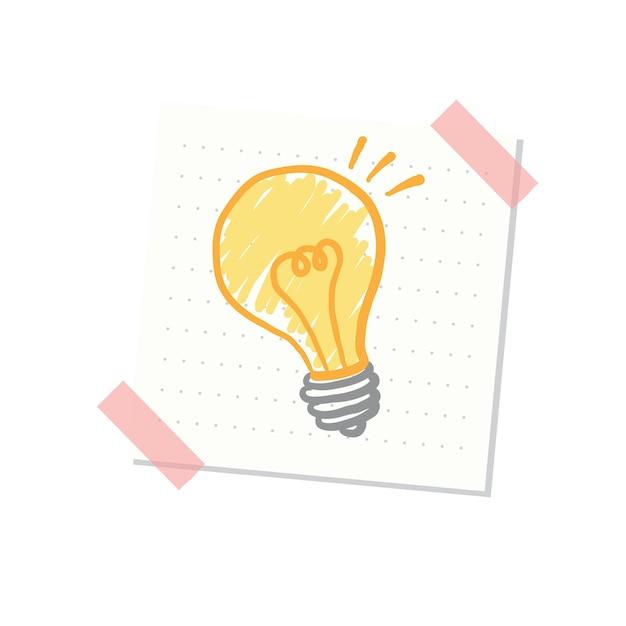 Ideen und glühlampeillustration Kostenlosen Vektoren