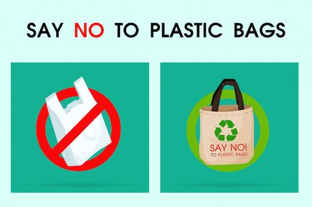 Ideen zur verringerung der umweltverschmutzung nein zu plastiktüten. Premium Vektoren