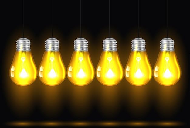 Ideenkonzept auf dunklem hintergrund Premium Vektoren