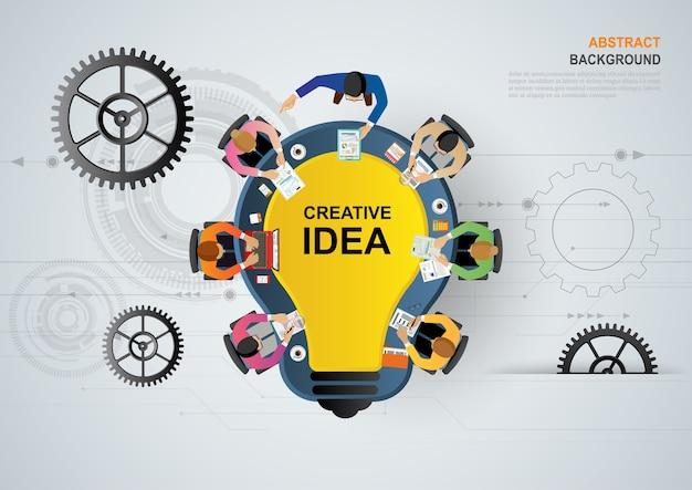 Ideenkonzept für geschäftsteamwork. Premium Vektoren