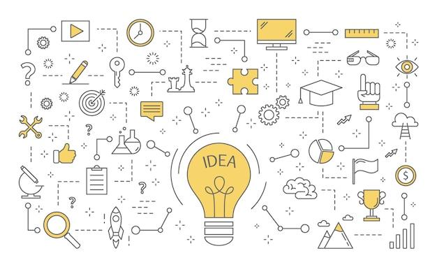 Ideenkonzept. kreativer geist und brainstorming. glühbirne als metapher der idee. satz von innovations- und bildungsikonen. linienillustration Premium Vektoren