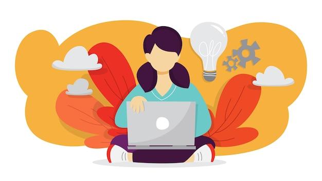 Ideenkonzept. kreativer geist und brainstorming. über innovation nachdenken und lösung finden. glühbirne als metapher. frau arbeiten am laptop und machen erfindung. illustration Premium Vektoren