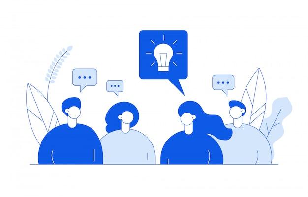 Ideenkonzept mit menschen Premium Vektoren
