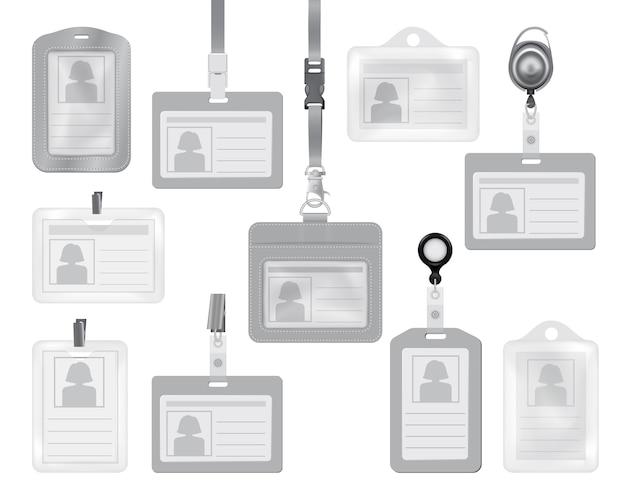 Identifikationskartenmodelle für das web Premium Vektoren