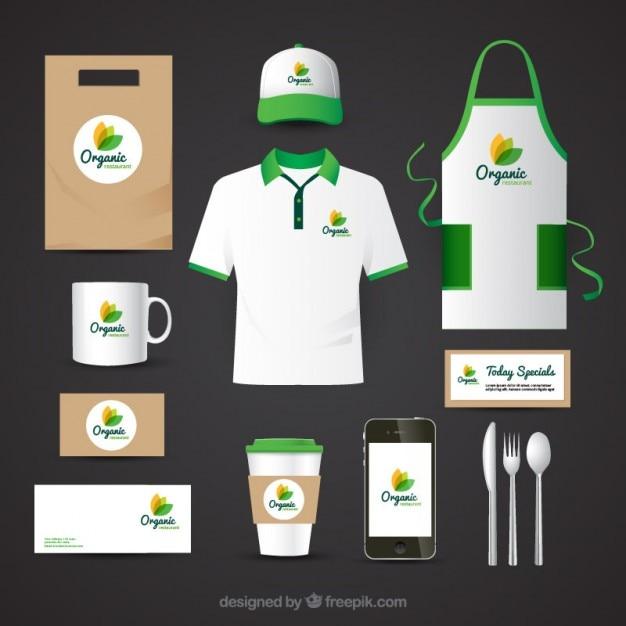 Identität Corporate für Bio-Food-Restaurant Kostenlose Vektoren