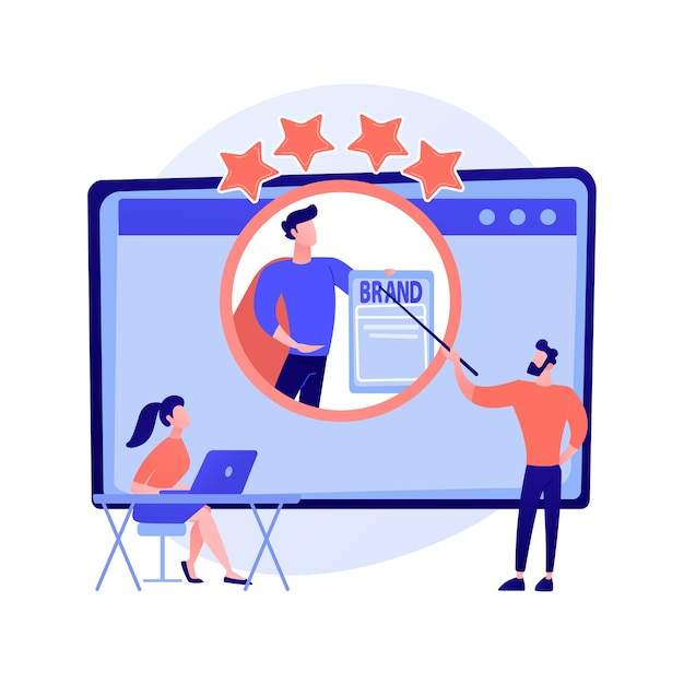 Identity branding coach. selbstverbesserungskurs, ruf der persönlichkeit, steigerung des selbstwertgefühls. online-mentoring-webinar zur persönlichen positionierung. Kostenlosen Vektoren