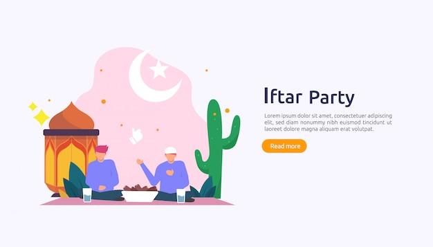Iftar, das nach fastenfestpartykonzept isst Premium Vektoren