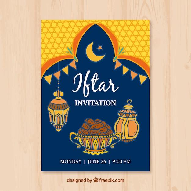 Iftar Einladung Mit Essen Und Arabischen Lampen Kostenlose Vektoren