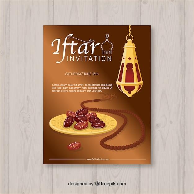 Iftar-einladung mit nahrung und tee in der flachen art Kostenlosen Vektoren