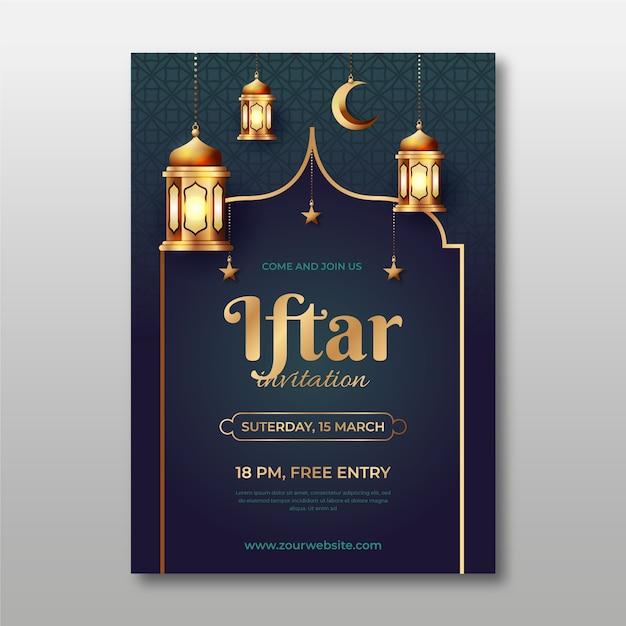 Iftar einladung mit realistischem bild Kostenlosen Vektoren