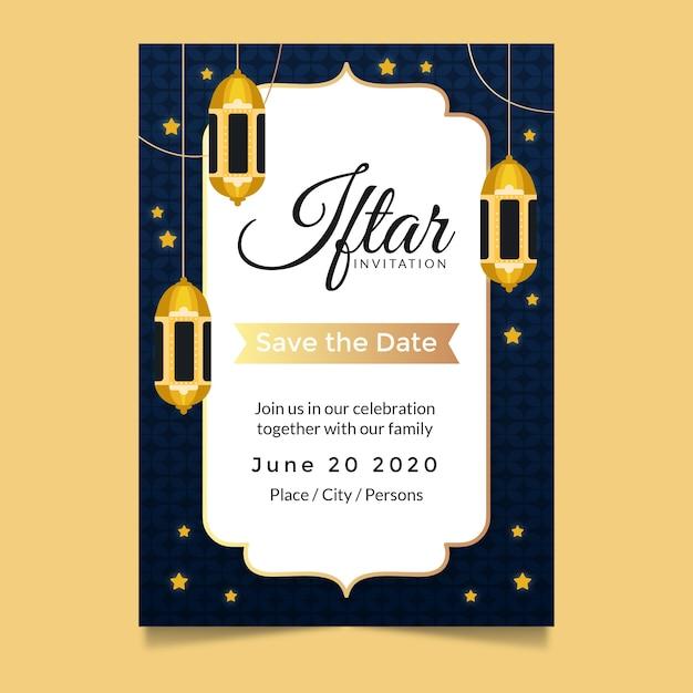 Iftar einladungsschablone mit sternen Kostenlosen Vektoren