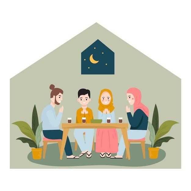Iftar essen nach dem fasten mit der familie. iftar-konzept Premium Vektoren