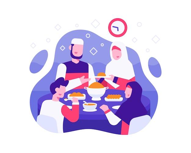 Iftar hintergrund mit muslimischer familie isst zusammen zur iftar-zeit Premium Vektoren