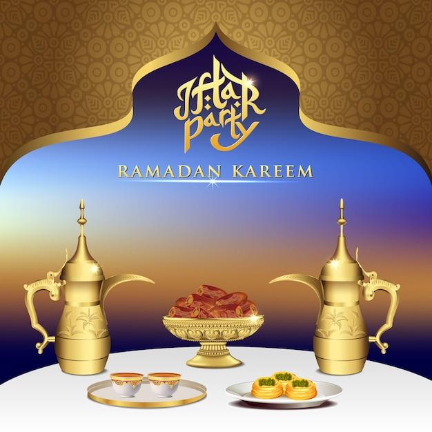 Iftar party feier essen mit teekanne set und schüssel datteln auf esstisch. Premium Vektoren