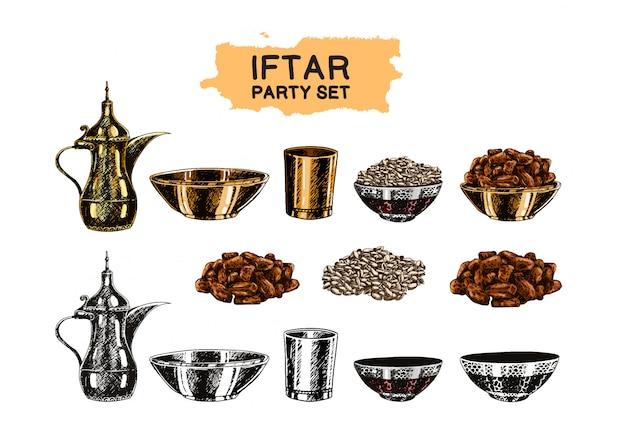 Iftar party islamisches themenset Premium Vektoren