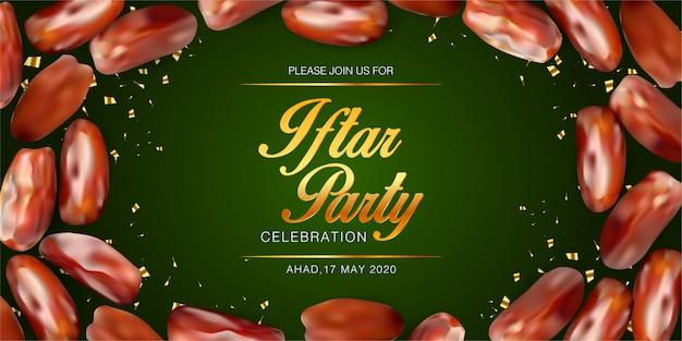 Iftar partyeinladungshintergrundschablone mit realistischen daten. islamisches eid mubarak festival banner. feiertagsbanner Premium Vektoren