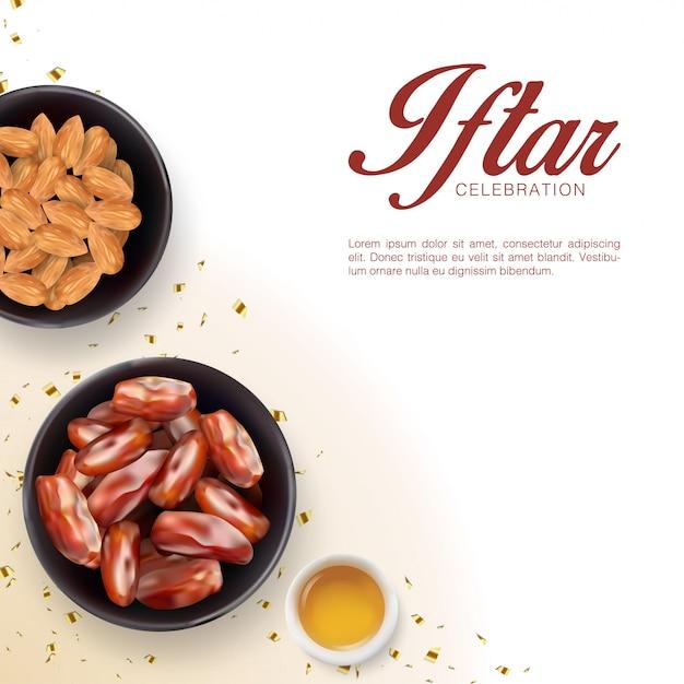 Iftar-partyeinladungshintergrundschablone mit realistischen flachen laiendaten und mandel. islamisches eid mubarak festival Premium Vektoren
