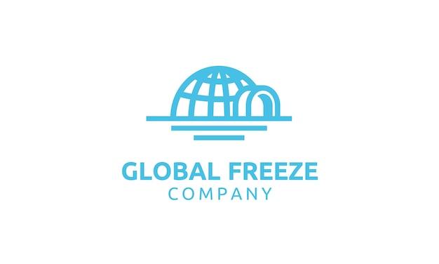 Iglu und globe kreatives logo design Premium Vektoren