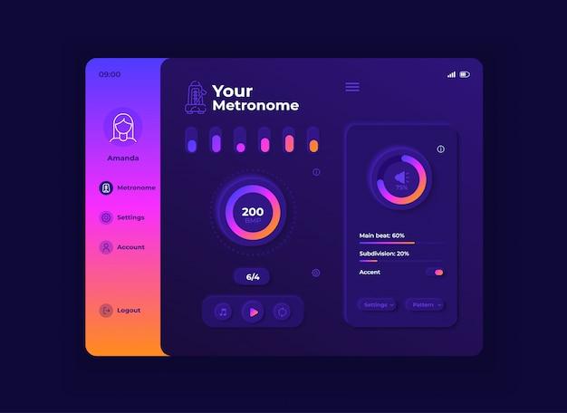 Ihre metronom-tablet-schnittstellenvorlage. mobile app seite nachtmodus design layout Premium Vektoren