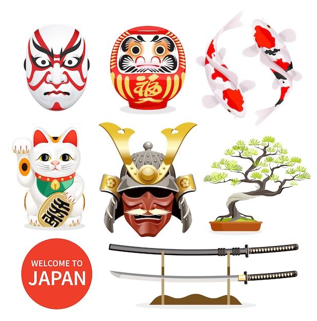 Ikonen der japanischen kunstkulturelemente Premium Vektoren