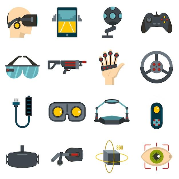 Ikonen der virtuellen realität eingestellt in flachen stil Premium Vektoren