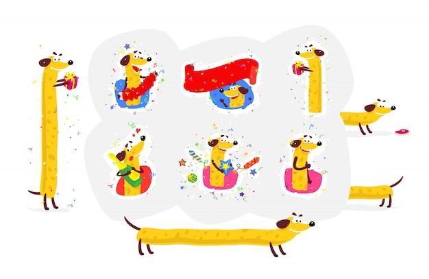 Ikonen eingestellt von einem gelben hund Premium Vektoren
