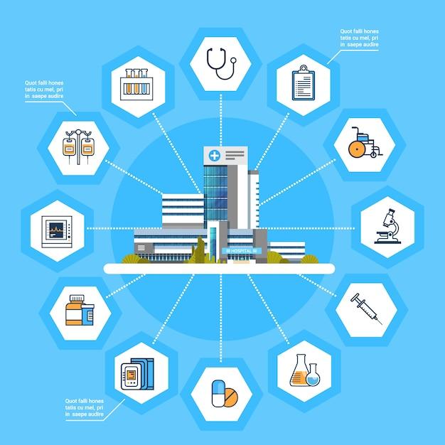 Ikonen-modernes medizin-konzept der krankenhaus-anwendungsschnittstellen-on-line-medizinischen behandlung Premium Vektoren