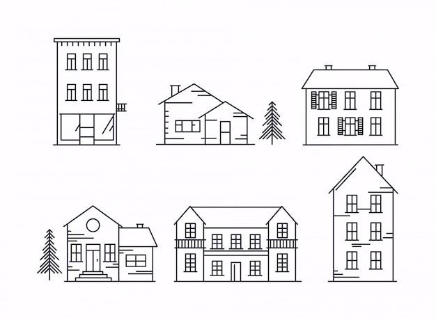 Ikonen und illustrationen mit gebäuden, häusern und bäumen. Premium Vektoren