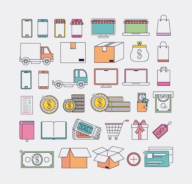 Ikonen-Vektor-Illustrationsdesign des elektronischen Geschäftsverkehrs gesetztes Premium Vektoren