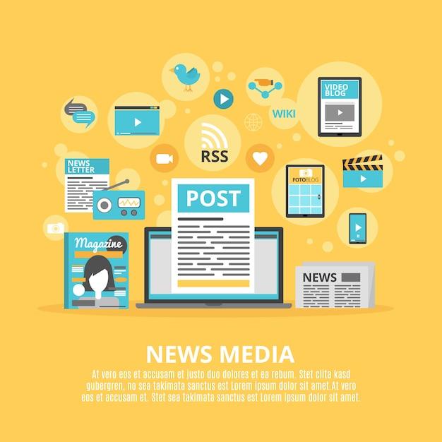 Ikonen-zusammensetzungsplakat der nachrichtenmedien flaches Kostenlosen Vektoren