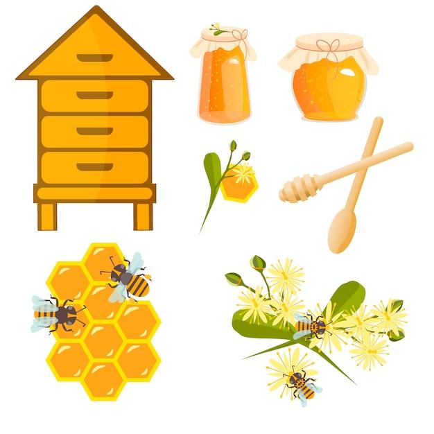 Ikonenbienenstände und bienenvektor. Premium Vektoren