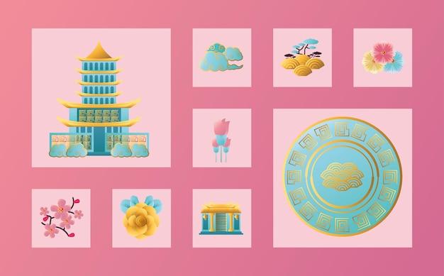Ikonenbündelentwurf des chinesischen neujahrs 2021, china-kultur und feierthema vektorillustration Premium Vektoren